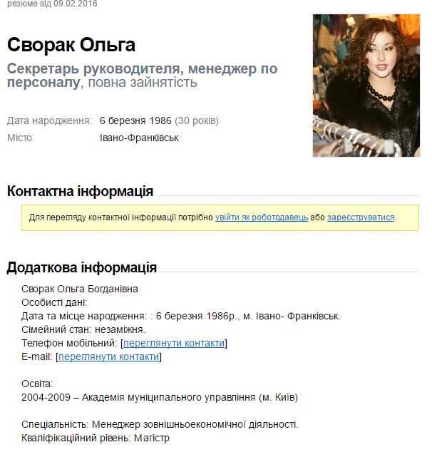 ОльгаСворак резюме