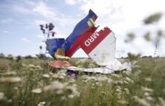 A part of the wreckage of Malaysia Airlines Flight MH17 is seen at its crash site, near the village of Hrabove, Donetsk region, July 20, 2014. U.S. Secretary of State John Kerry on Sunday laid out what he said was overwhelming evidence of Russian complicity in the downing of the Malaysian airliner in eastern Ukraine as he made the U.S. case against Moscow in the most emphatic and explicit terms yet. REUTERS/Maxim Zmeyev (UKRAINE - Tags: DISASTER POLITICS TRANSPORT CONFLICT TPX IMAGES OF THE DAY)