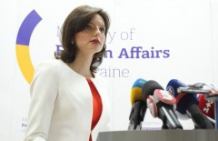 Spokesperson for the Foreign Ministry Of Ukraine Maryana Betsa at a news briefing in Kyiv on July 15, 2015.