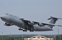 Lockheed Martin Aeronautics Company - Marietta, GA.  LOCKHEED MARTIN PHOTOGRAPHY BY DAMIEN A. GUARNIERI -  MP12-0793 C-5M departure.  C-5M Shop 0085 departs from Lockheed Martin Marietta to Warner Robins AFB in south Georgia to finish it's modifications on Friday, June 29, 2012.