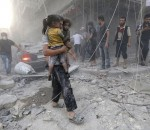 """A Syrian man carries two girls covered with dust following a reported air strike by government forces on July 9, 2014 in the northern city of Aleppo. According to the Syrian Observatory for Human Rights, by May some 2,000 civilians including 500 children had been killed in the daily air strikes, which rights groups have condemned as a """"war crime"""" for failing to discriminate between military and civilian targets. AFP PHOTO /AMC/ZEIN AL-RIFAI        (Photo credit should read ZEIN AL-RIFAI/AFP/Getty Images)"""
