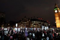 Demonstrators gather in front of the Houses of Parliament during a protest against U.S. President Donald Trump in London, Britain February 20, 2017. REUTERS/Toby Melville