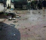 Blood stains the ground at the site of an attack by two suicide bombers in Damascus, Syria, in this handout picture provided by SANA on March 11, 2017. SANA/Handout via REUTERS