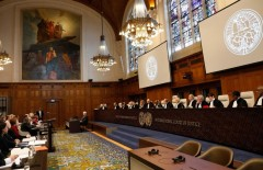 epa05832559 A general view to the judges at The International Court of Justice (ICJ), the principal judicial organ of the United Nations, during a public hearing in the case of Ukraine against the Russian Federation, in The Hague, the Netherlands, 06 March 2017. Others are not identified. Ukraine accuses Russia of violating UN conventions and to support 'illegal armed groups' in the Donbas as well as mistreating ethnic Ukrainians and Crimea Tartars on the Crimea peninsula which was annexed in 2014.  EPA/BAS CZERWINSKI