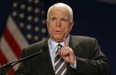 Republican presidential candidate Sen. John McCain, R-Ariz., makes remarks at the 79th Annual League of United Latin American Citizens (LULAC) Convention in Washington, Tuesday, July 8, 2008. (AP Photo/Lawrence Jackson)