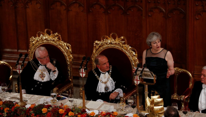 Britain's Prime Minister Theresa May makes a speech at the Lord Mayor's Banquet at the Guildhall, in London, Britain November 13, 2017.  REUTERS/Peter Nicholls