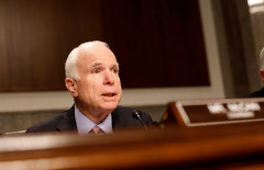 Committee chairman Senator John McCain (R-AZ) asks a question during a Senate Armed Services Committee hearing on the Marines United Facebook page on Capitol Hill in Washington, D.C., U.S. March 14, 2017.  REUTERS/Aaron P. Bernstein